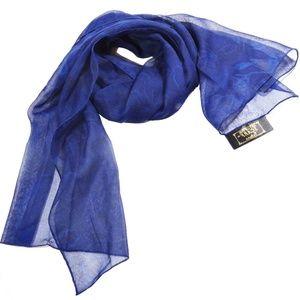 Art of the Scarf Tie Rack 100% Polyester ItalyBlue